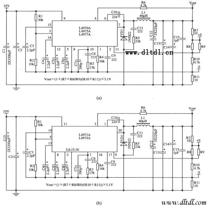 开关集成稳压器L4970A/L4975A/L4977A(L4972A/L4974A)的典型应用