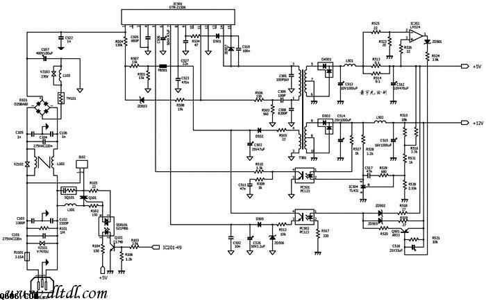 HP 6L激光机开关电源电路图