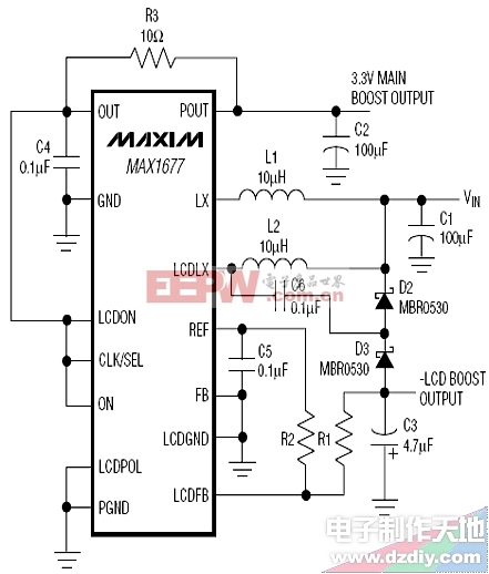 MAX1677负压发生电路