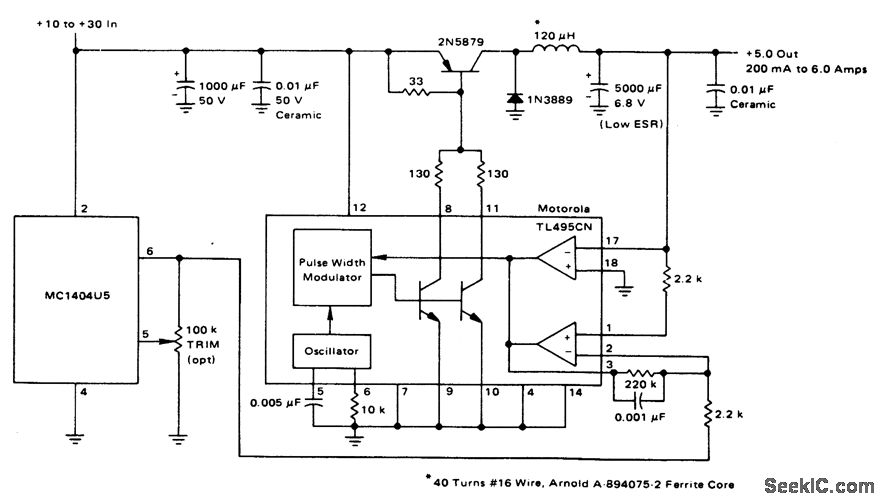5.0V/6.0A 25kHz具有独立的超稳定的基准开关稳压器