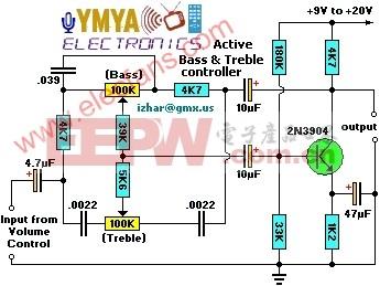 有源低音控制转换器电路-Active Bass  Trem