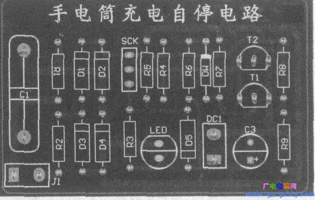 手电筒充电延寿电路印制板