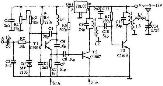 图3 87MHz~108MHz调频发射器的电路原理图