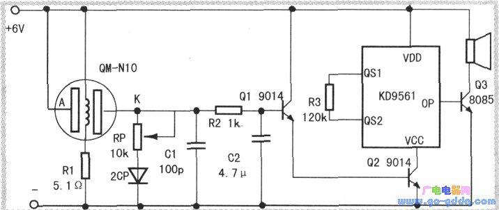 家用有毒气体报警器的电路图