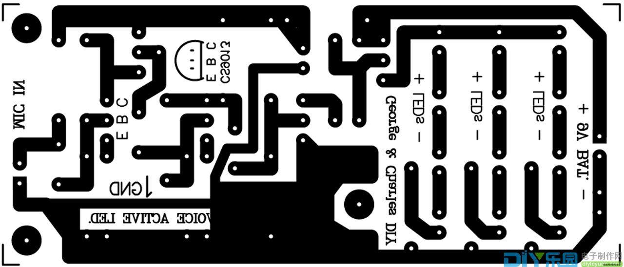 声控LED灯PCB图