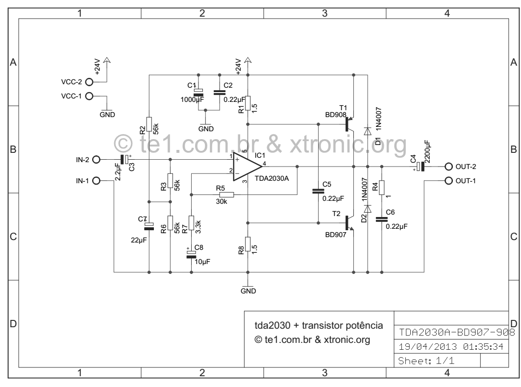 TDA2030+BS908/BD907制作的40W-HI-FI音频放大器电路原理图