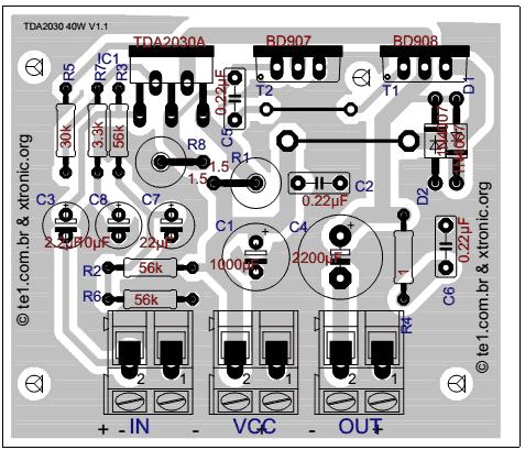 TDA2030+BS908/BD907制作的40W-HI-FI音频放大器元件布局图