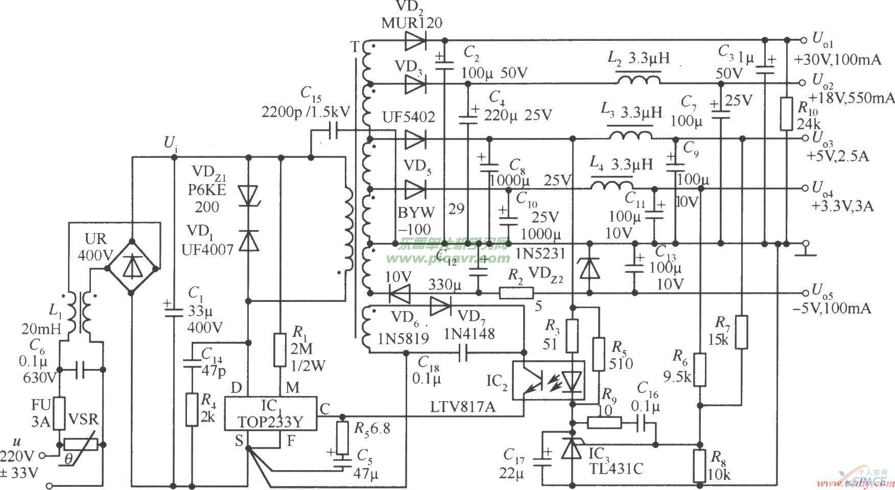电路图这5路电压分别为:uo1(+30v,100ma),uo2(+18v,550ma),uo3(+5v