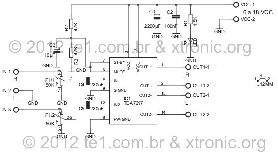 TDA7297 2 15瓦静音和待机可选功率放大器