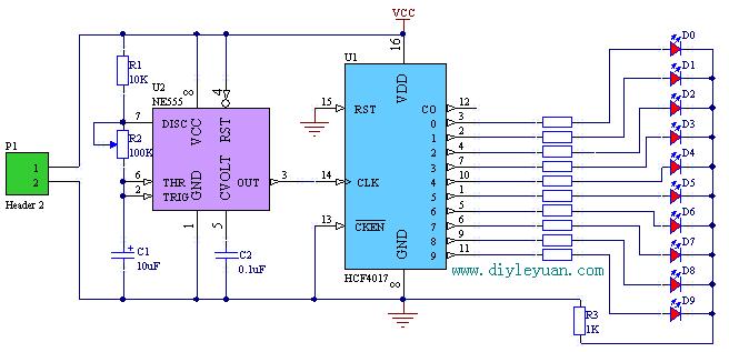 用cd4017可以制作各种流水灯电路,可以是圆形的,心形的,多个led组合在图片