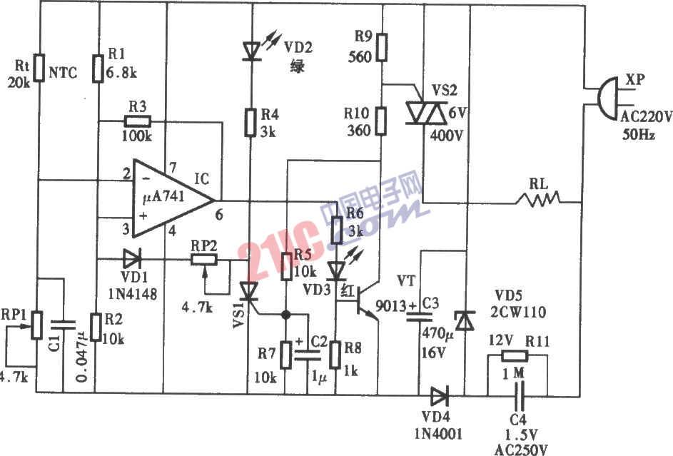 电饭锅温度控制电路