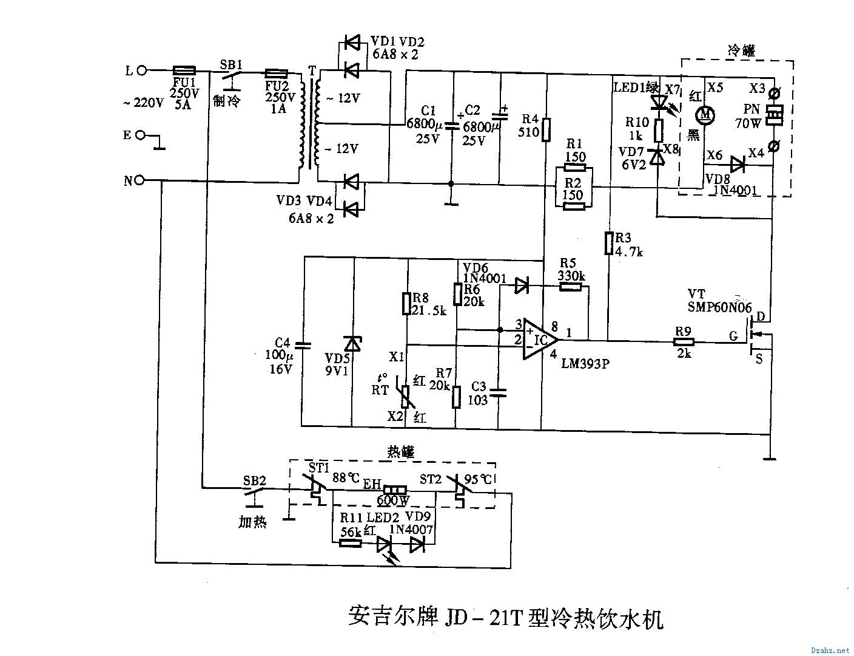 安吉尔jd-21t型冷热饮水机 -综合电路图-电子产品世界