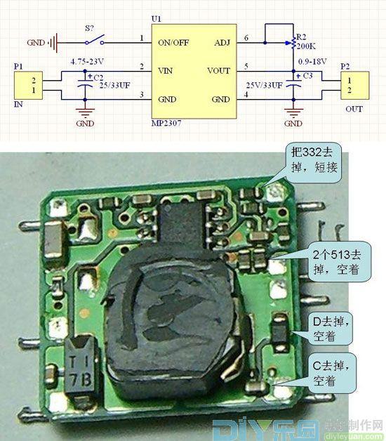 上图是3r33s作为可调电源的接线图.