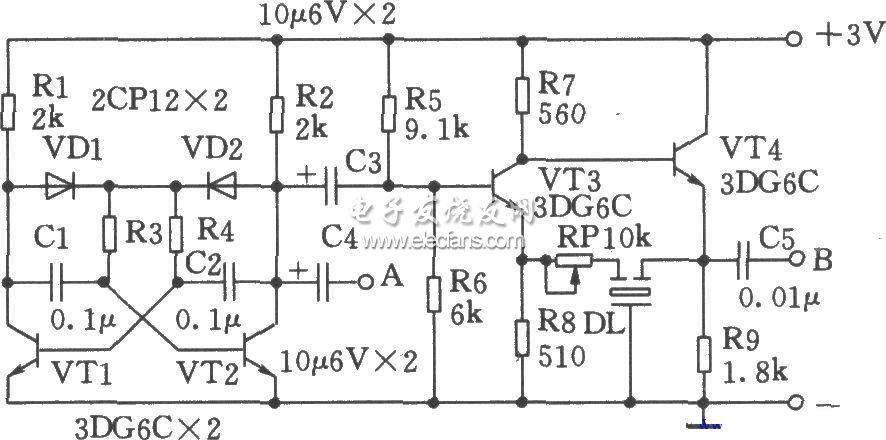 陶瓷滤波器制成的中频信号发生器原理图