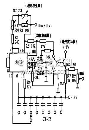 同时产生三种波形的函数发生器电路图