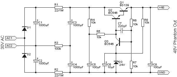 48v幻象电源电子滤波电路图
