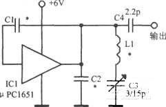 μPC1651构成的超高频振荡器电路