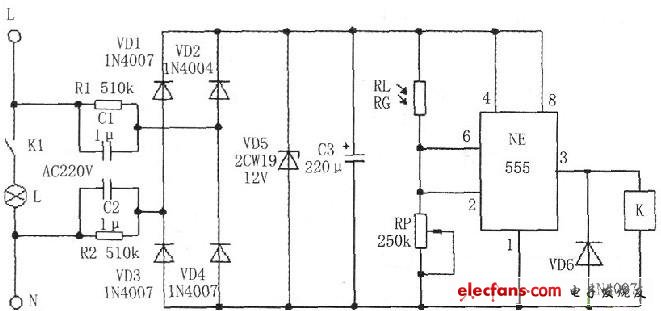 光控开光路灯自动控制电路原理