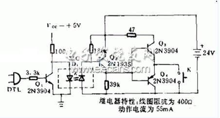 基于DTL的继电器隔离电路原理图