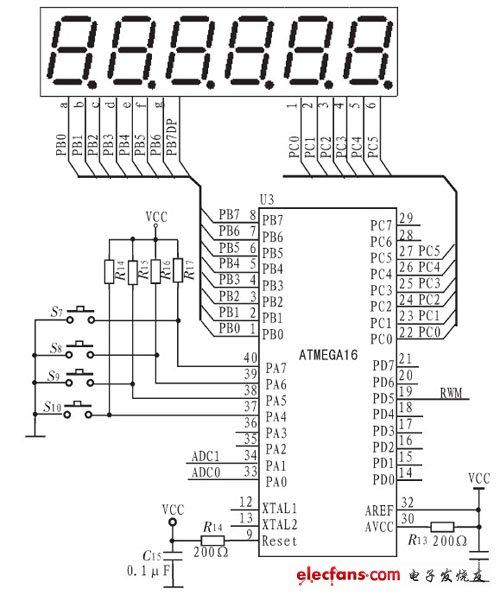 单片机ATMEGA16键盘及显示电路