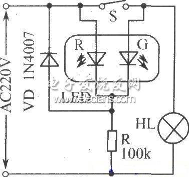 电源工作状态指示电路图