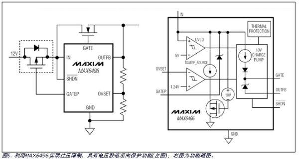 MAX6496反向电压保护的内部结构