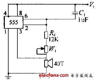 555时基电路构成的超声换能器驱动电路
