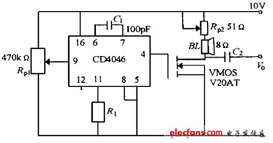 CD4046构成的电压频率转换器电路