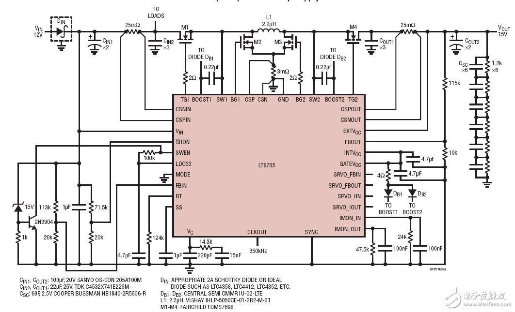 双向降压-升压型超级电容器后备电源电路图