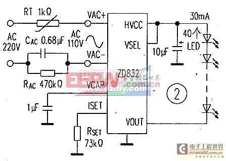 无变压器ac-dc恒流led驱动电路-----zd832 led