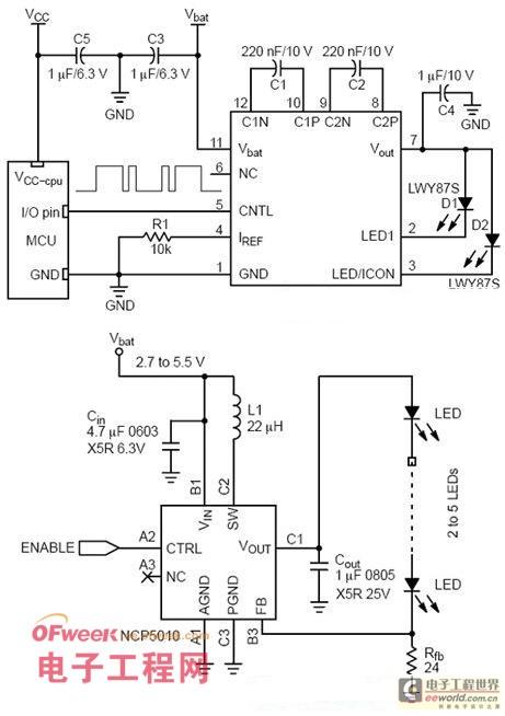 电荷泵和电感led驱动器电路图.