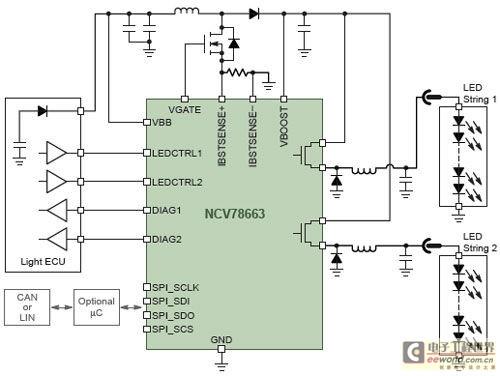安森美半导体的ncv7680是用于汽车led组合尾灯的线性稳流器及控制器