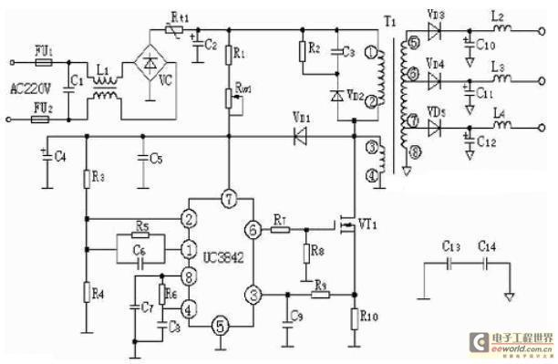 224P构成的12V、20W开关直流稳压电源电路-电源工程师设计全攻图片