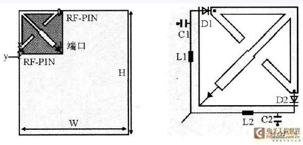 嵌入式系统 设计应用 > 手持移动终端的可重构天线设计  1 天线结构与