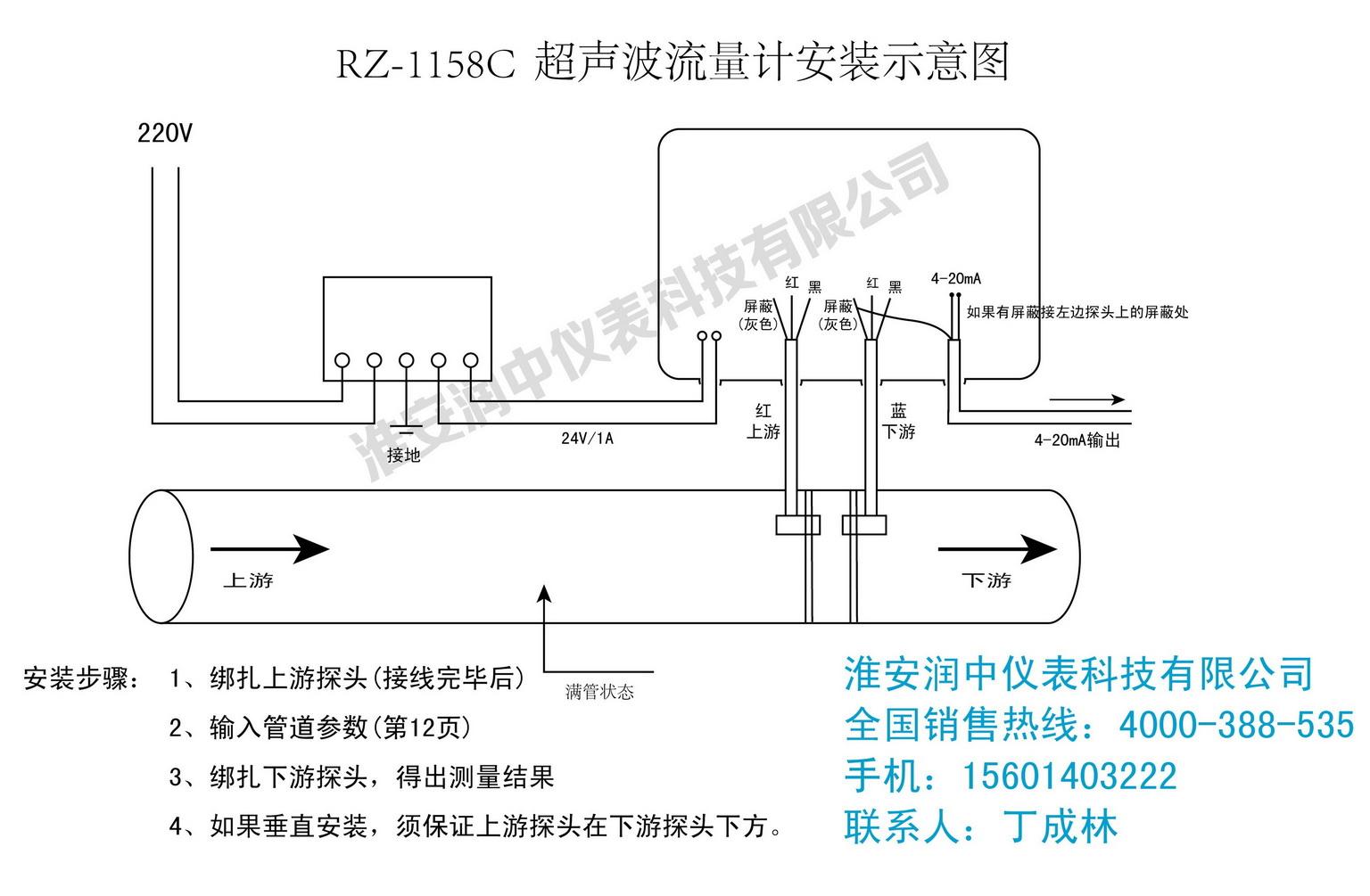 正确安装外夹式超声波流量计的方法步骤及产品接线图